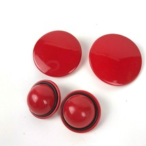 Red Plastic Clip Earrings Vtg Lot Of 2 Mod Groovy Geometric glam Fun sta... - $11.87