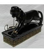 Lane Mid Century Modern Black Panther W/ Chain Table TV Lamp Planter Bra... - $179.99