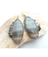 Blue banded landscape agate earrings, large oval dangles Art Nouveau style - £101.70 GBP