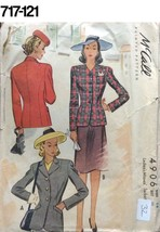 VTG Sewing Pattern McCalls #4906 Size 14 Bust 32 Blazer Jacket  Early 1940s - $21.38