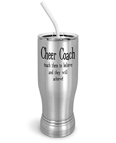 PixiDoodle Teach To Believe And They'll Achieve - Cheer Coach Pilsner Tumbler wi - $29.44