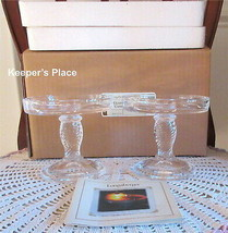 Set Of 2 Longaberger Glass Pedestal Candle Stand Clear Basket Weave New In Box - $21.00