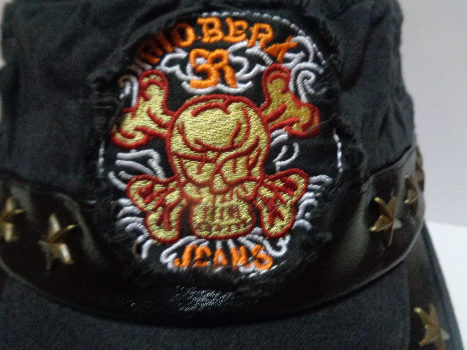 Black Jean Skull Military Cap Hat NEW Adult Size Adjustable