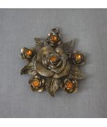 Vintage Little Nemo LN/25 Floral Leaf Pendant Amber Rhinestones Signed - $51.96