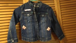 Denim jacket girls size small long sleeve with designs  - $10.95