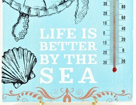 """""""Life is Better by the Sea"""" Beach Ocean Marine Theme Turtle Indoor Thermometer image 2"""