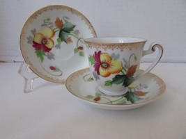HIRA CHINA DEMI CUP & 2 SAUCERS OCCUPIED JAPAN YELLOW FLOWER - $5.95