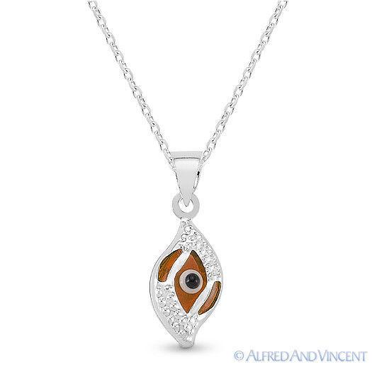 Evil Eye Glass Bead Greek Turkish Nazar Hamsa Pendant Sterling Silver Necklace image 4