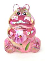 Fenton Hippo Pink Carnival Floral Glass Hand Decorated Signed by S. Batt... - $56.43