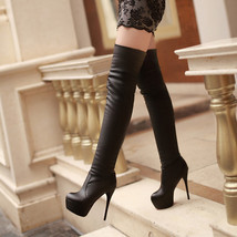 PB149 extra size sweet stiletto knee-high boots,US Size 3-10.5 black - $68.80