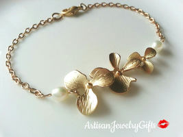 Gold Orchid Anklet Matte Gold Orchid Trio Pearl Anklet Orchid Ankle Brac... - $46.00