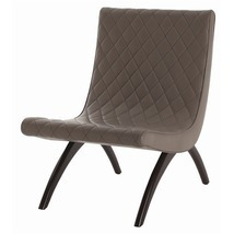 GREY QUILTED LEATHER and WOOD CHAIR, Top Grain, Glossy Legs, MID CENTURY... - £860.21 GBP