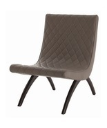GREY QUILTED LEATHER and WOOD CHAIR, Top Grain, Glossy Legs, MID CENTURY... - ₨77,038.89 INR