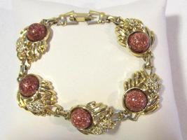 Vintage jewelry goldtone Lucite  bracelet 8'' Long - $6.00