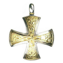 Gerochristo 5337  -  Solid 18K Gold & Silver Medieval Maltese Cross Pend... - $510.00