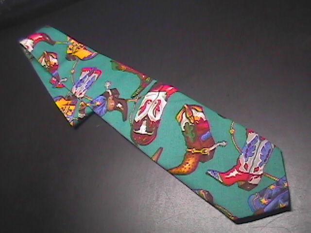 Ralph Marlin Neck Tie Western Theme Cotton Teal