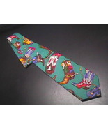 Ralph Marlin Neck Tie Western Theme Cotton Teal - $10.00