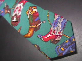 Ralph Marlin Neck Tie Western Theme Cotton Teal image 3