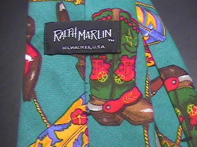 Ralph Marlin Neck Tie Western Theme Cotton Teal image 2
