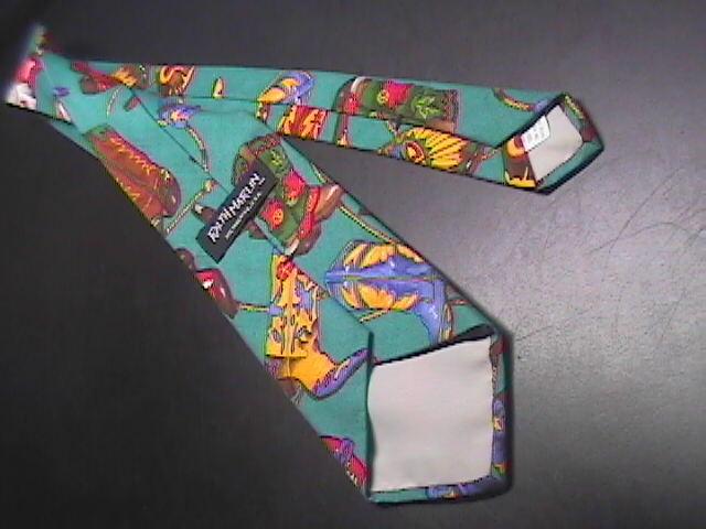 Ralph Marlin Neck Tie Western Theme Cotton Teal image 4