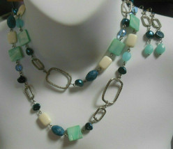 Lia Sophia Blues Glass/Shell/Bead Chain Necklace & Earring Set - $45.00