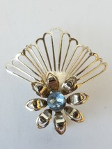 Blue Gemstone Flower Brooch Pin - $11.34