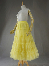 Women Tiered Long Skirt Outfit High Waisted Layered Yellow Tulle Skirt image 5