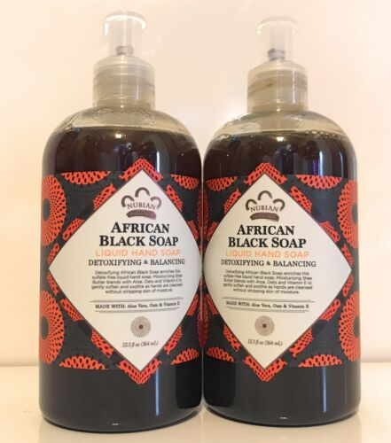 2x Nubian Heritage African black soap Liquid Hand Soap 12.3 Oz, Detoxifying - $29.69