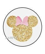 30 Minnie Mouse ears head stickers favors pink gold glitter image seals ... - $4.99