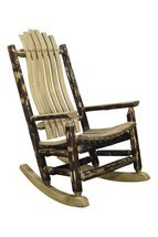 Rustic Log Rocking Chair Amish Made Porch Rockers Lodge Cabin Furniture NEW - $675.22