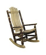 Rustic Log Rocking Chair Amish Made Porch Rockers Lodge Cabin Furniture NEW - $13.688,59 MXN