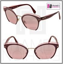 Miu Miu Rasoir 53T Layers Garnet Pink Silver Cat Eye Flat Sunglasses MU53TS - $242.55