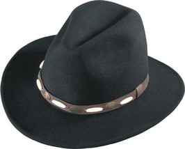 Henschel Wool Western Outback Hat Water Repellent Long Beads Conchos Black Brown - $61.00