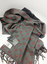 Fuuxxi Grey & Red Figs Wool Double Sided Scarf MSRP $145.00 - $69.29