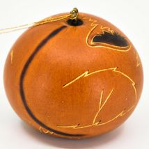 Handcrafted Carved Gourd Art Orange Fox Forest Animal Ornament Made in Peru image 3