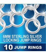 10 Locking JUMP RINGS Sterling Silver 6mm Heavy... - $16.37