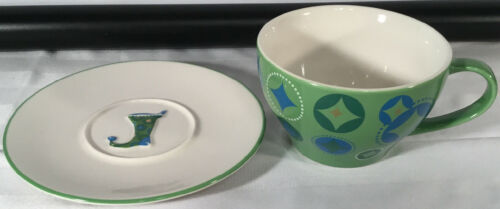 Starbucks Coffee HOLIDAY 2006 12oz Cup & Saucer Set 2Pc Green Blue Stocking image 4