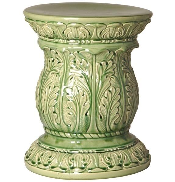 Green acanthus ceramic garden stool glossy end side for Garden stool side table