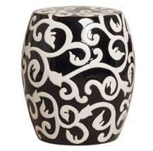 BLACK & WHITE VINE Ceramic Garden Stool, Indoor or Outdoor, Side or End ... - $249.00