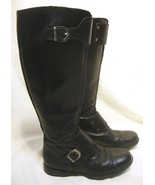 HOGAN Tall Aviator BOOTS Black Leather Riding Buckles Low IT 34 US 4 * 4... - $84.15