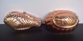 2 Vintage Kitchen Copper Aspic Food Jelly Culinary Pan Molds Wall Hangin... - $8.86