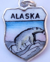 ALASKA Polar Bear 2 Vintage Enamel Travel Shield Charm - $27.31