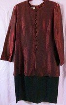 Karin Stevens Dress 16 Red Black Long Sleeve Midi Work Party - $14.03