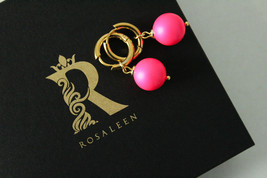 Swarovski crystal pearl, Stainless steel and Neon pink color earrings - $20.00