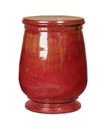 RED TUSCAN CERAMIC GARDEN STOOL, Glossy, End or... - $289.00