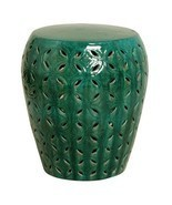 DEEP GREEN LATTICE Ceramic Garden Stool, Indoor or Outdoor, Side or End ... - $249.00