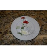 """Block Geranium Watercolors 6 3/8"""" Bread Plate Mary Lou Goertzen - $8.86"""
