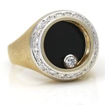 Men's Onyx Diamond Spinning Ring 14k Yellow Gold - $1,813.00