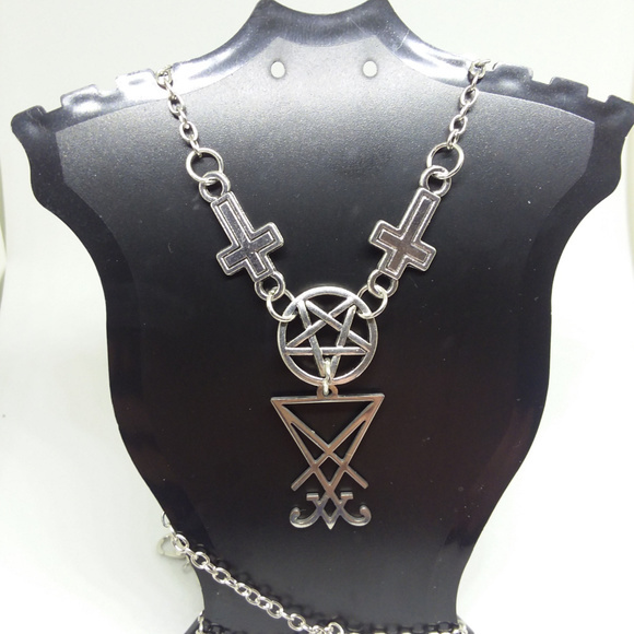 Inverted Cross/Pentacle + Sigil Necklace