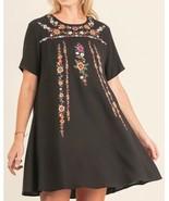 UMGEE Dress Floral Embroidered Peasant Mini A-Line Boho Casual Shift BLA... - $28.05